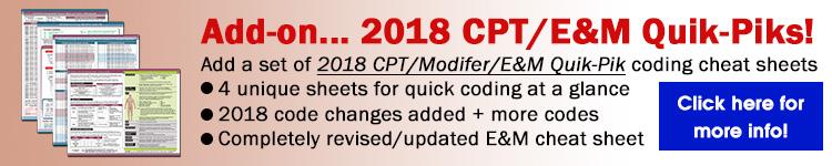 2018 Dermatology CPT E/M Quik-Piks